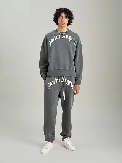 PALM ANGELS GD CURVED LOGO CREW