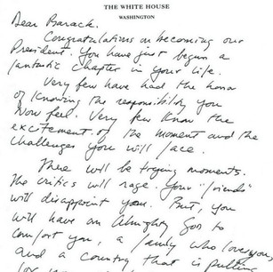 Letter from George W. Bush to Barack Obama (January 20, 2009)