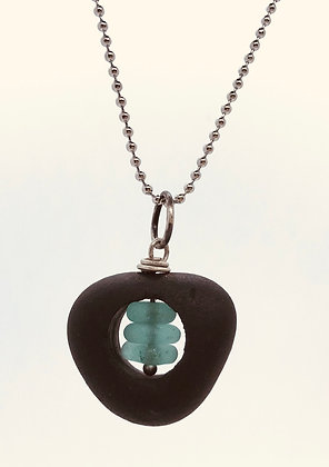 Silver Rock and Glass Pendant