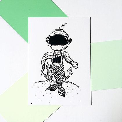 'Underwater Dude' Postcard