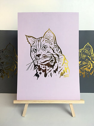 'Bad Kitty' Gold foil print