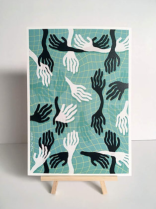 'Wiggly Hands' A4 Print