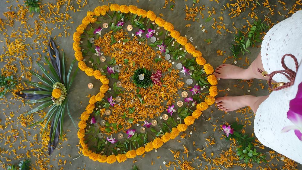 Fleurs fraiches coeur amour et bienveillance