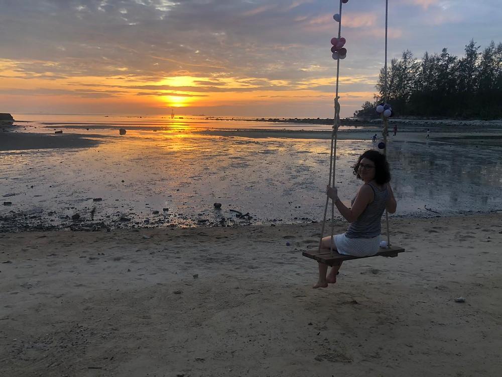 Coucher de soleil plage Koh Phangan balançoire