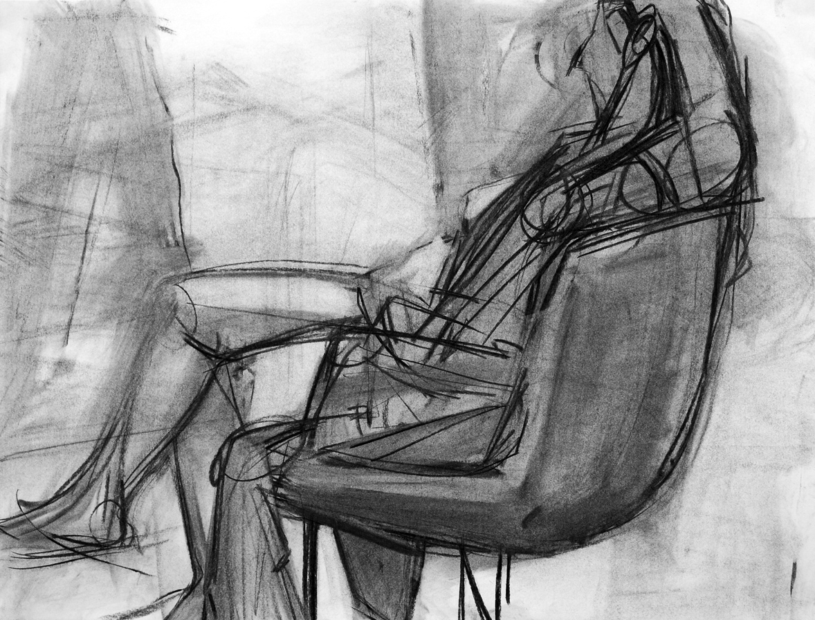 Lyles_seated model_Charcoal on Paper_18