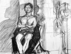 Lyles_seated male_Graphite on Paper_18 x