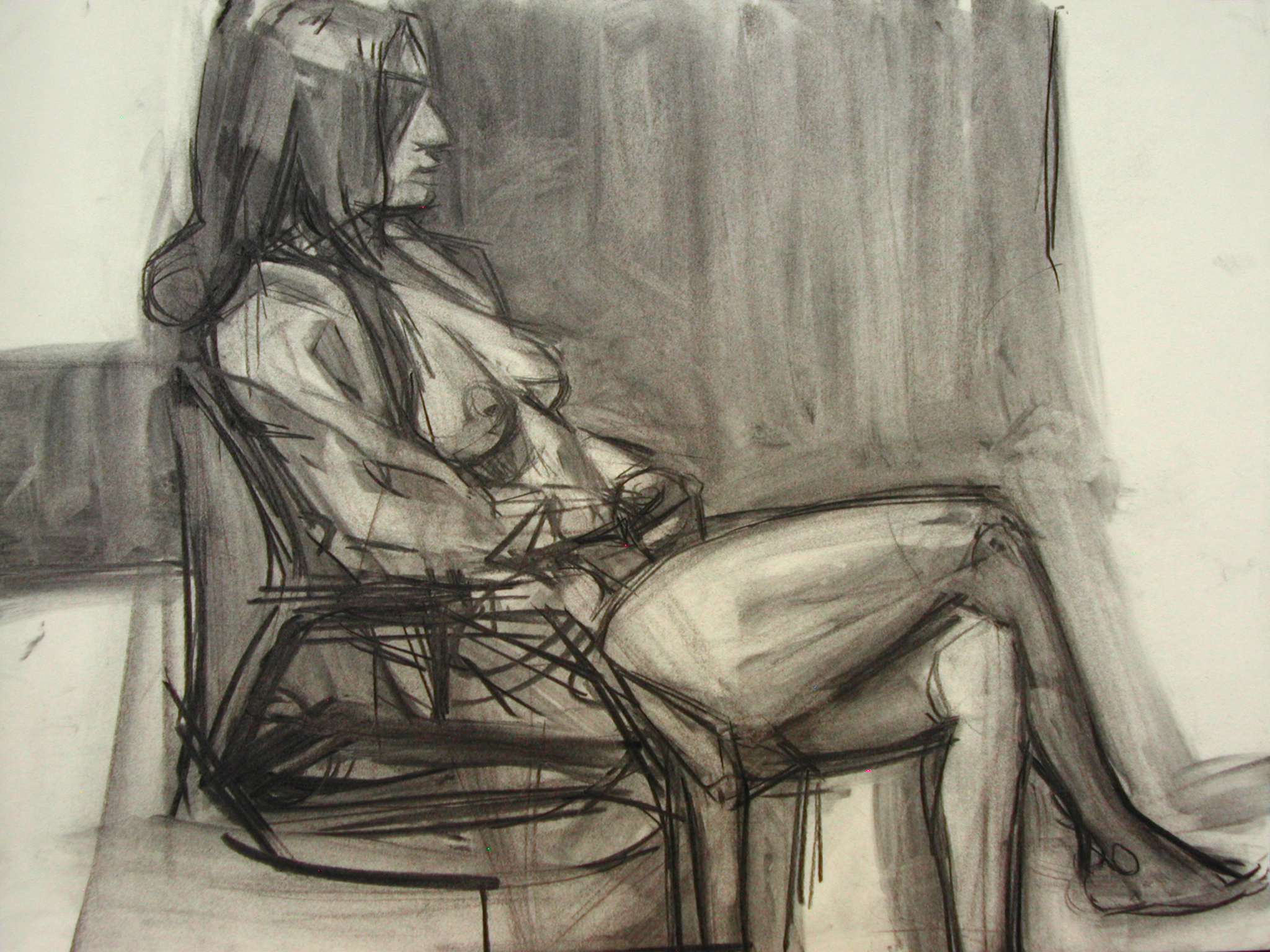 Lyles_Seated Female Charcoal on Paper 18