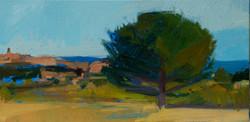 Lyles_ Villiage-Tree-Sea, oil on canvas,
