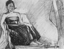 Lyles_Model in Chair,graphite on paper,