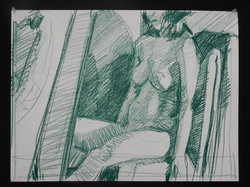 Lyles_Seated Model_Green China Marker on