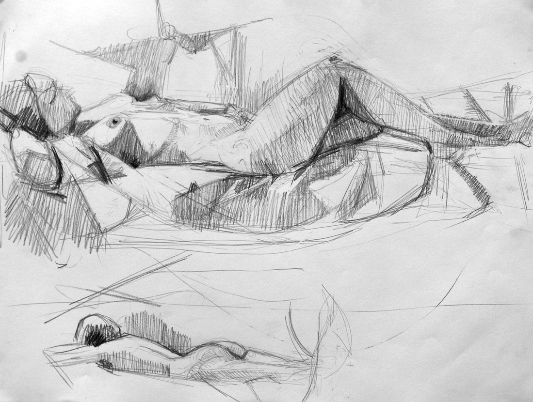 Lyles_reclining model_Graphite on Paper_