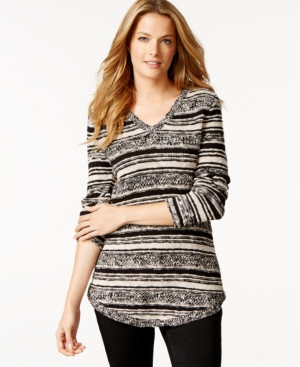 Style co striped scoop-neck tunic
