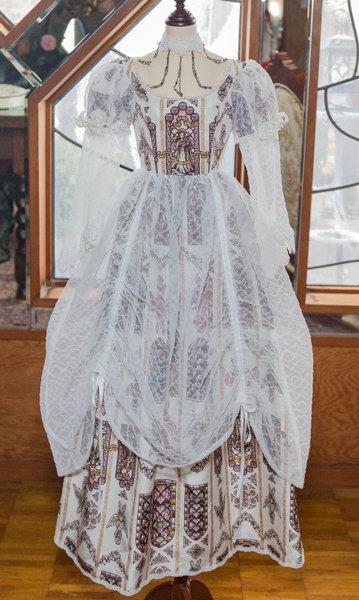【110cm作品用】恋月姫オリジナルステンドグラス天使柄ドレス (白)
