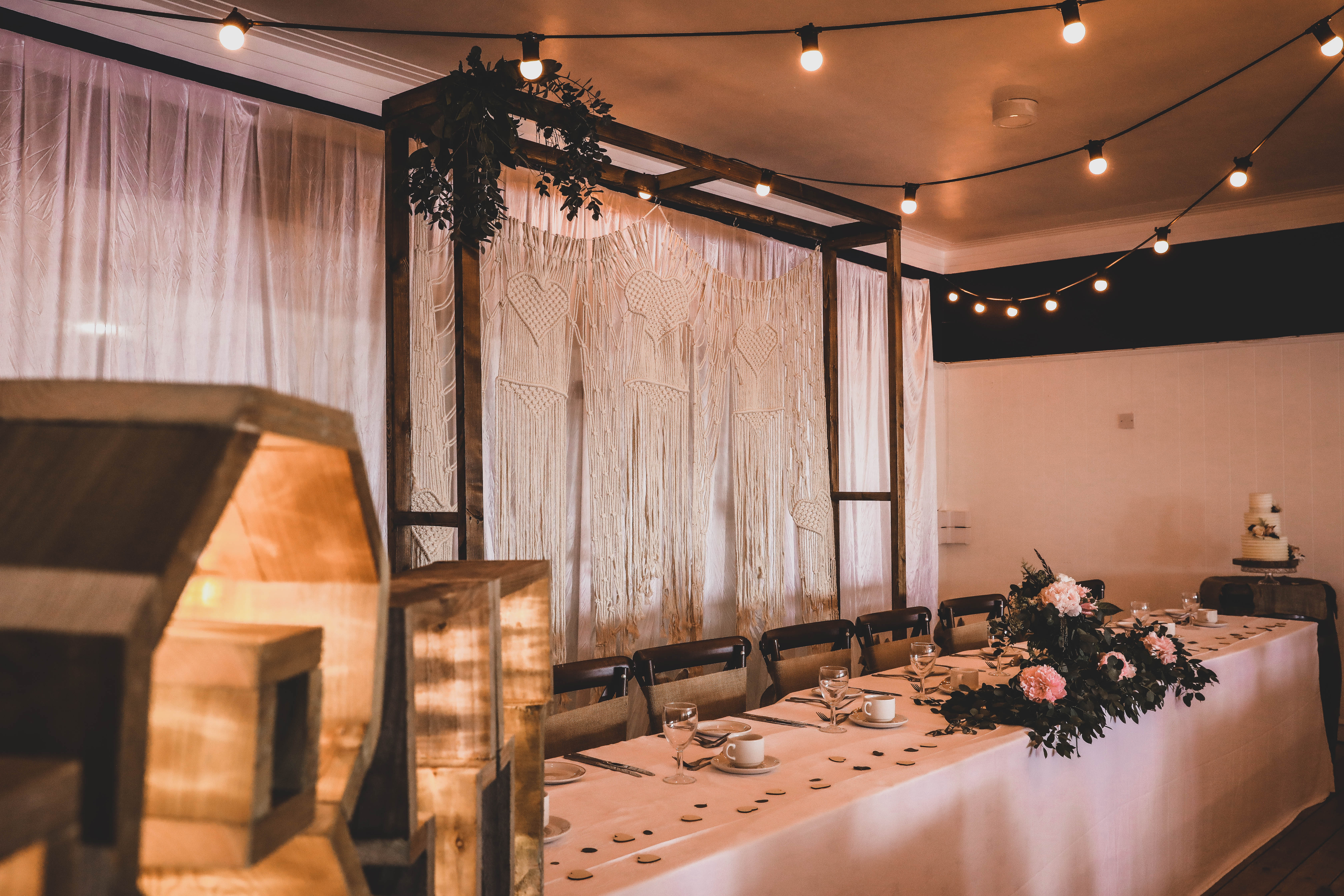 Boho Macramé Backdrop with Wooden Frame