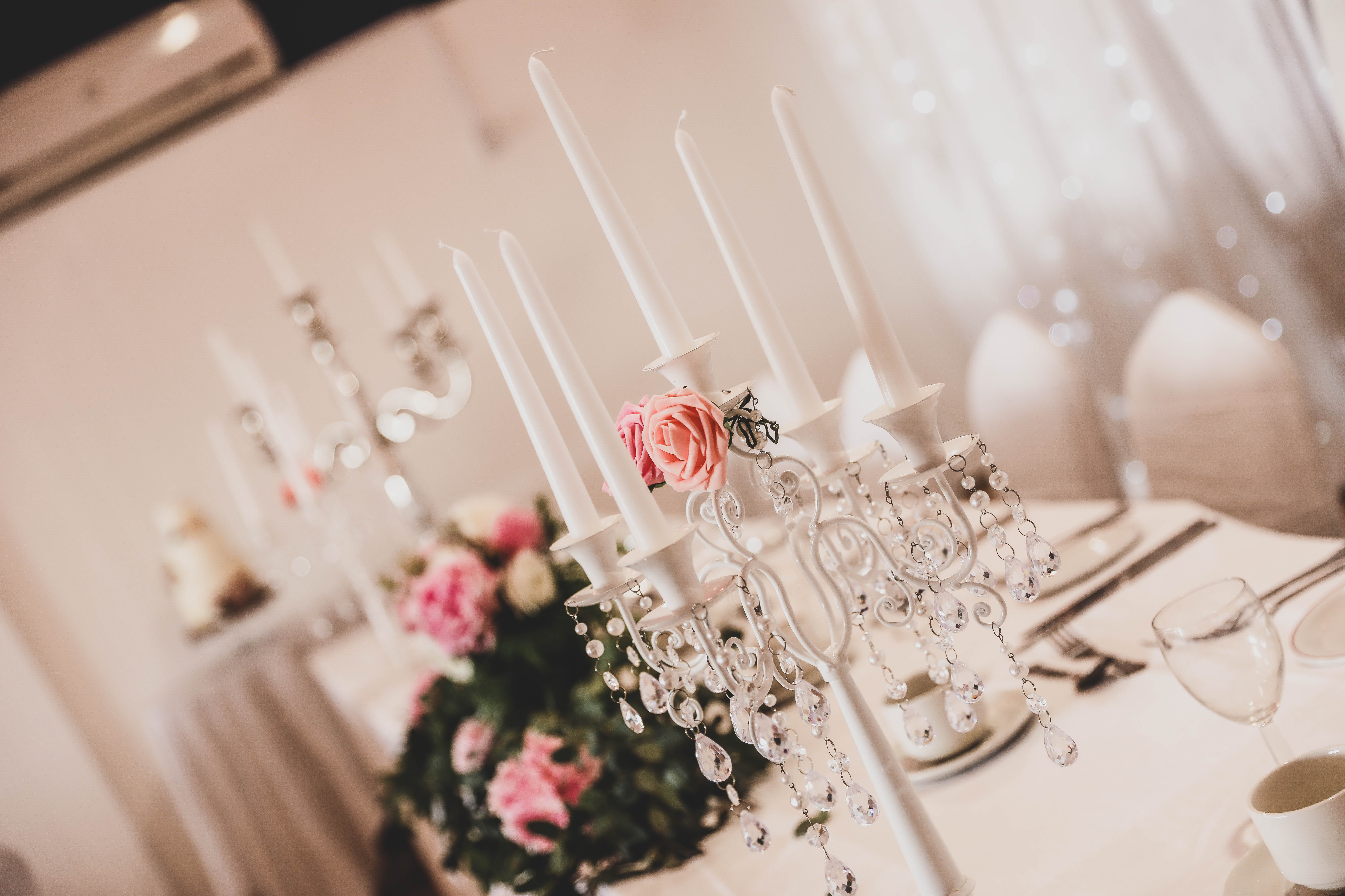 White 5 Arm Candelabra with Crystals