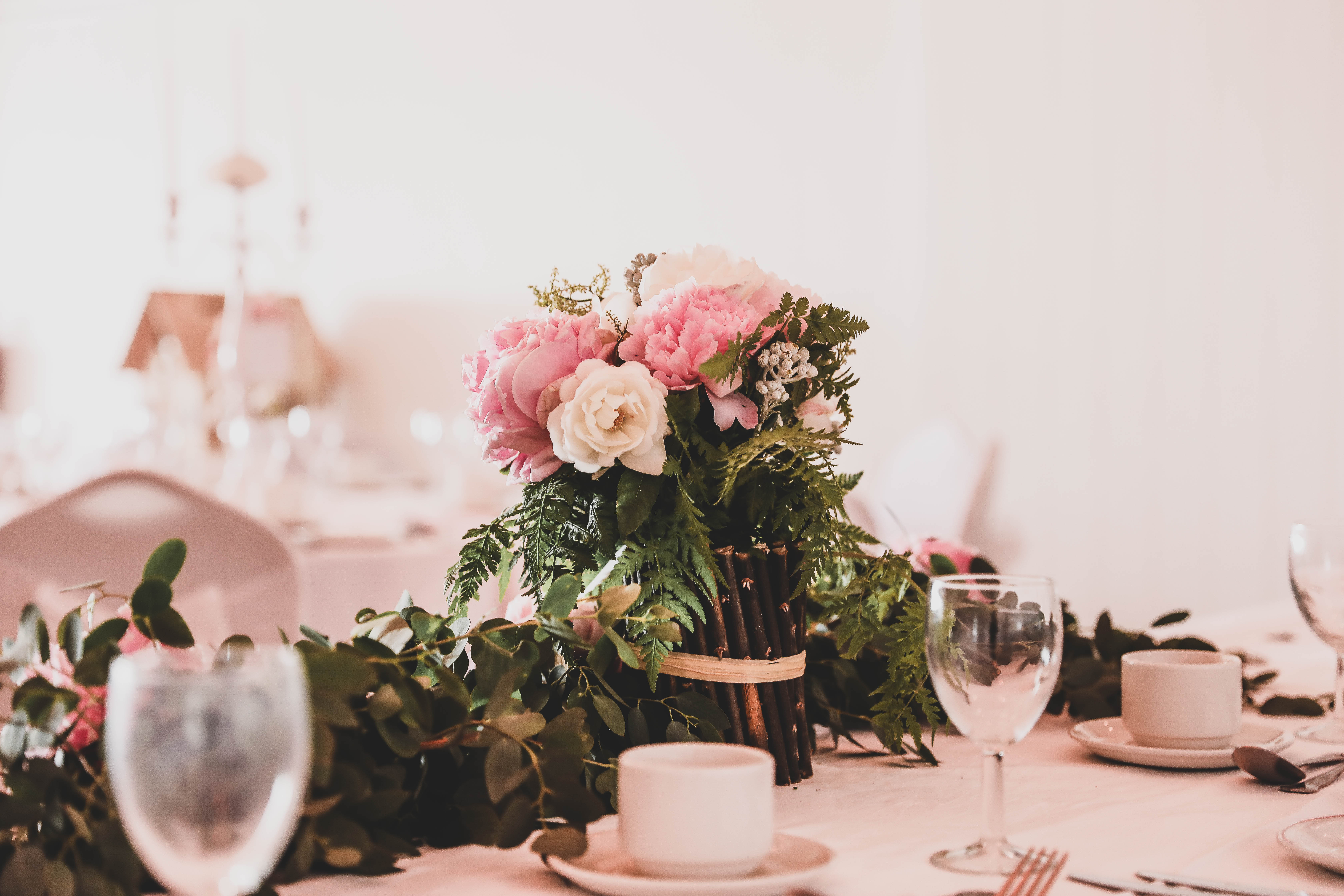 Beautiful Pink Floral Table Centres
