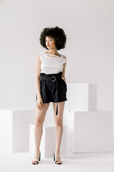 Pinstripe Belted Shorts