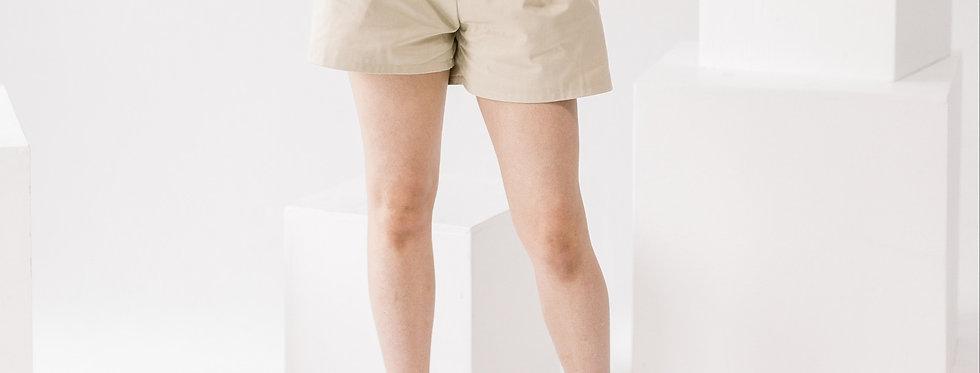 Khaki  Belted Shorts