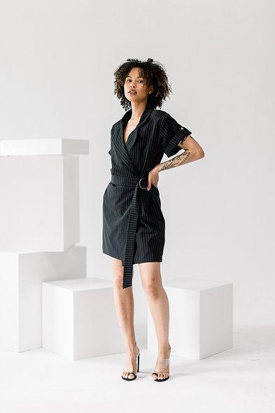 Pinstripe Belted Blazer Dress