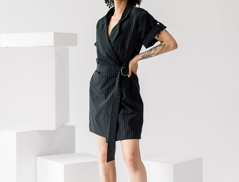Pinstripe Belted Blazer Dress