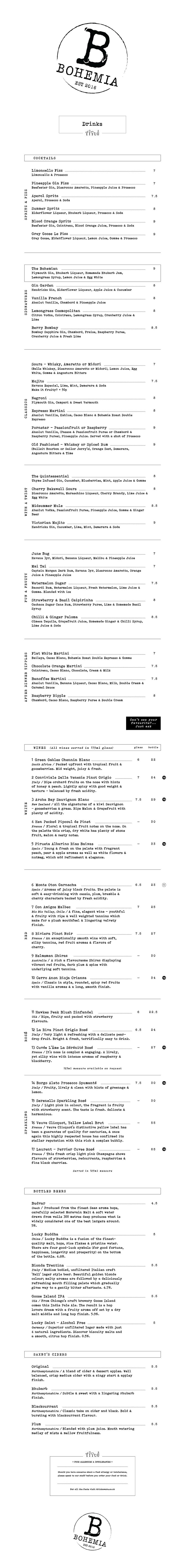Bohemia - Drinks menu - 2021 - V1 - Digi