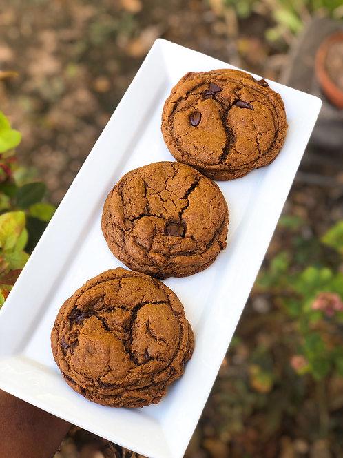 Pumpkin Spiced Dark Chocolate Chip Cookies