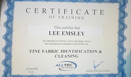 Emsley's carpet cleaning, Fine fabric's training.