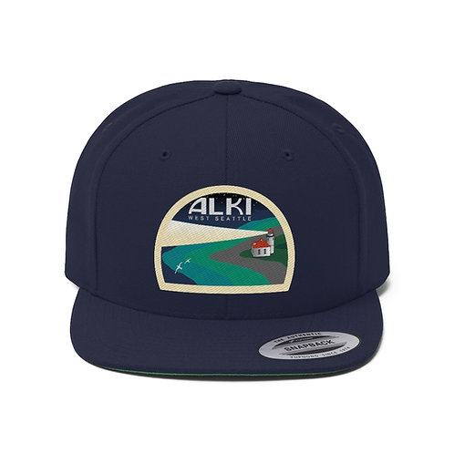 Alki Lighthouse - Unisex Flat Bill Hat