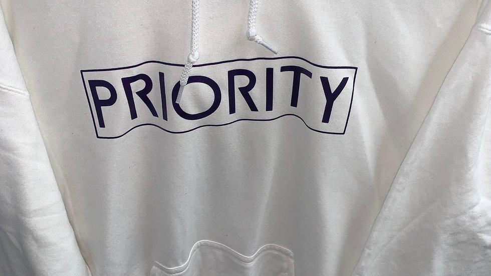 PRIORITY White Hoodie w| Purple Words