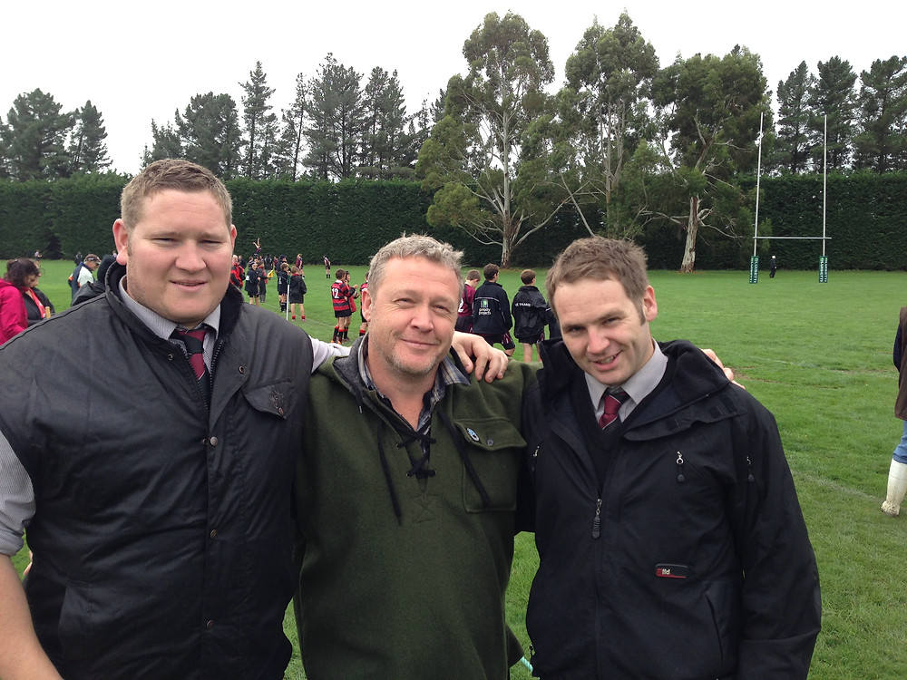 """Me (centre) with my """"Front-Rower's Appreciation Society"""";  Vaughan (l), President of the club, and the first to ask for my 'services', and Richard (r), the Secretary."""