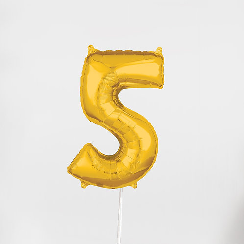 """Number """"5"""" Gold 26 Inch"""