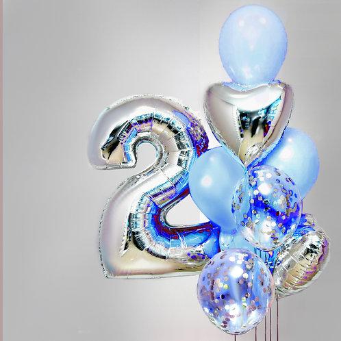 """Balloons Bouquet """"Blue Lightness"""""""