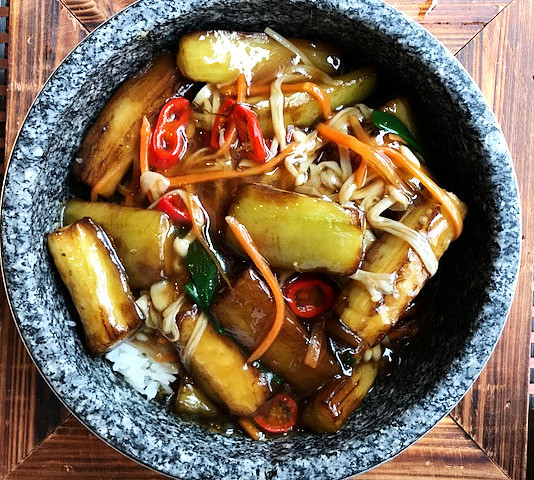 Golden Mushroom Aubergine hot stone rice
