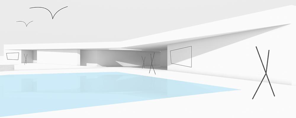 Entwurf eines Freizeitbades / Volumenskizze - kirschnick architektur BDA