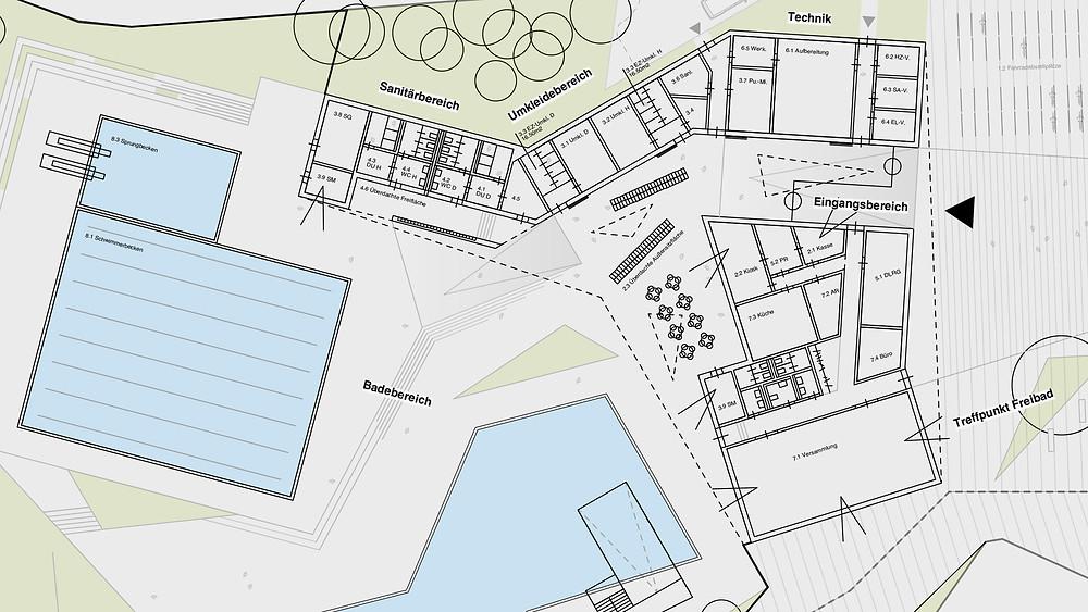 Entwurf eines Freizeitbades / Grundriss - kirschnick architektur BDA