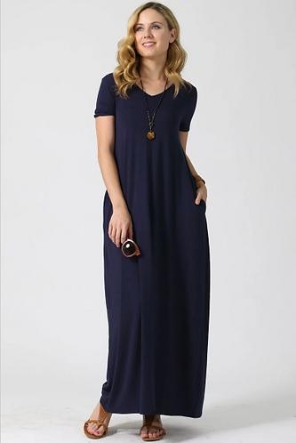 Navy Short Sleeve Maxi Dress
