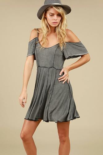 Charcoal Open Shoulder Dress