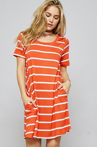 Orange Striped Dress