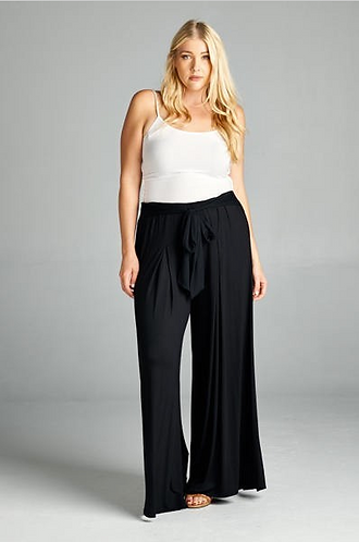 High Waisted Palazzo Pants with Waist Tie