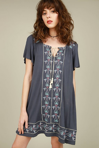 Embroidered Dress with Slit Shoulders