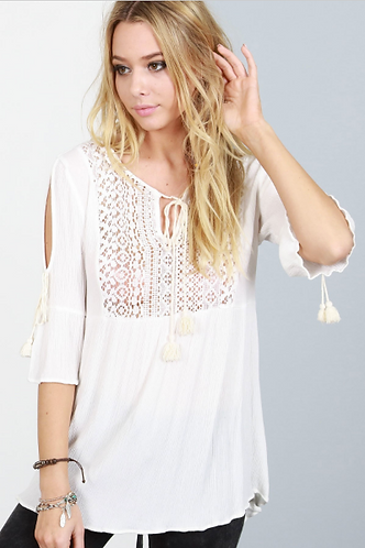 Ivory Top with Front lace bust