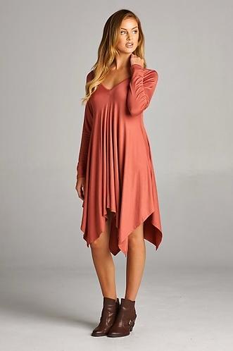 Marsala Long Sleeve Dress