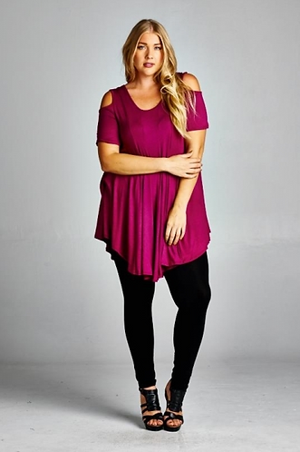 Magenta Open Shoulder Tunic-PLUS