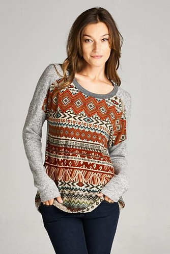Orange and Grey Patterned Sweater