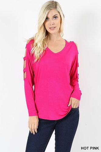 Cutout Shoulder Top-Hot Pink