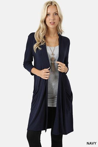 3/4 Sleeve Long Navy Sweater