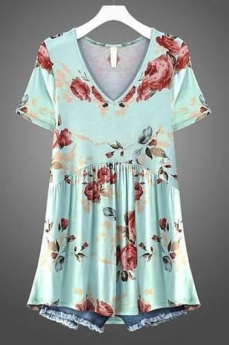 Mint V-Neck Short Sleeve Swing Top with Floral Print