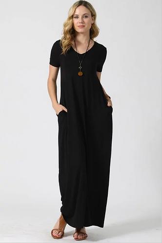 Black Short Sleeve Maxi Dress