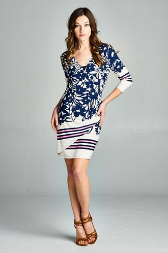 Side Ruched Floral Border Wrap Dress
