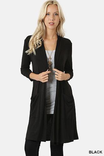 3/4 Sleeve Long Black Sweater
